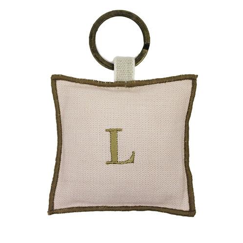 | Portachiavi personalizzato | Lino Rosa cipria con iniziale
