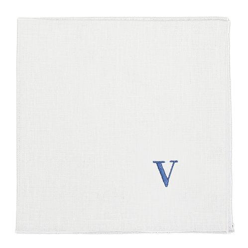 | Tovagliolo in lino personalizzato con iniziale | Ricamo blu avio