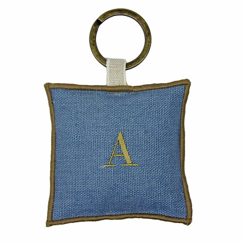   Portachiavi personalizzato   Lino Azzurro ceruleo con iniziale