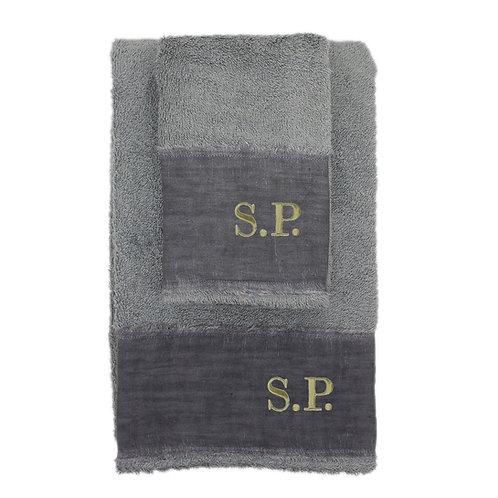 | Asciugamani con Iniziali Ricamate | Spugna Grigio Cenere