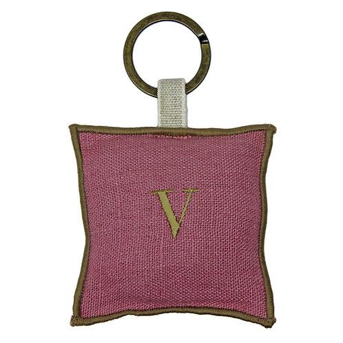 | Portachiavi personalizzato | Lino Rosa azalea con iniziale