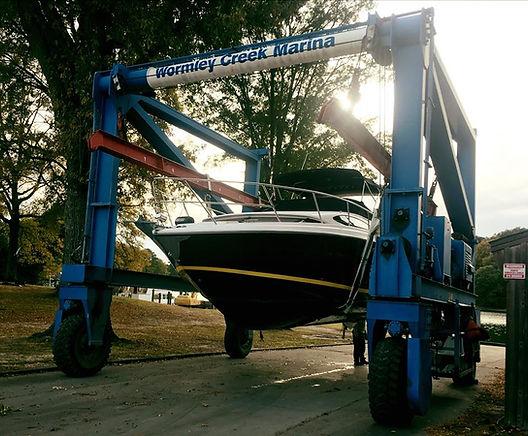 boat, haul out, cabin cruiser, regal, york river, marina