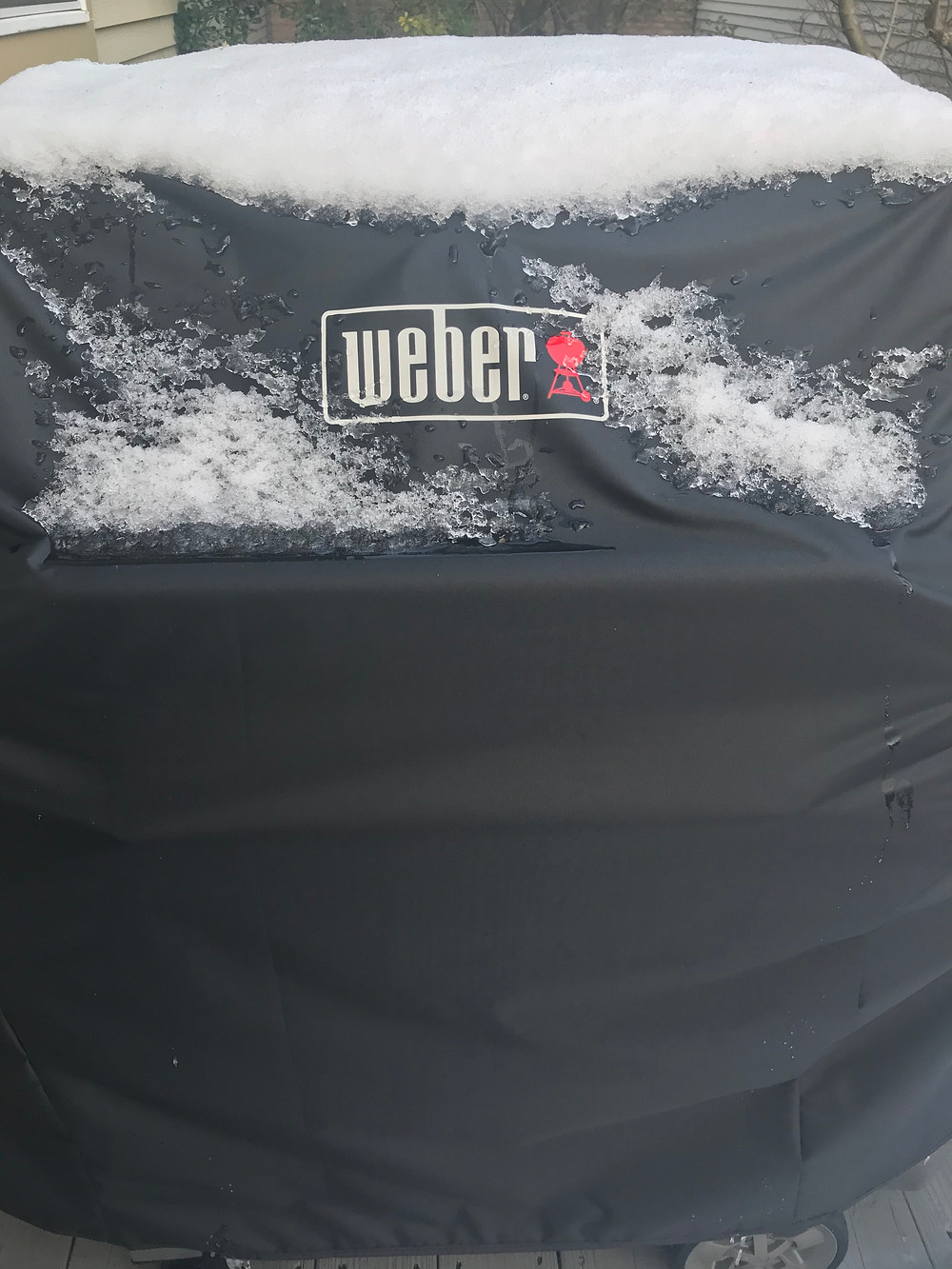 Weber Gas Grill Cover with snow on top of it