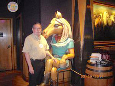 David Gillespie get very friendly with a Wildhorse regular visitor