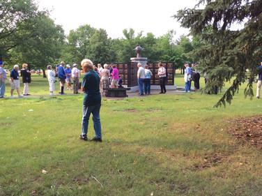 Enjoying a walk in the Memorial Garden