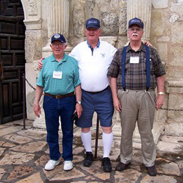 """Pappy"" Papworth, Kotch Lotchenreuther and Jerry May at the Alamo"