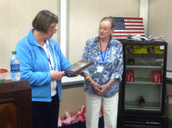 Sandra Evens receiving our thanks and recognition for an outstanding job organizing the reunion