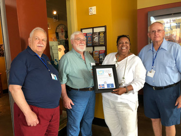 We presented Toni Bell with our Plaque of Appreciation