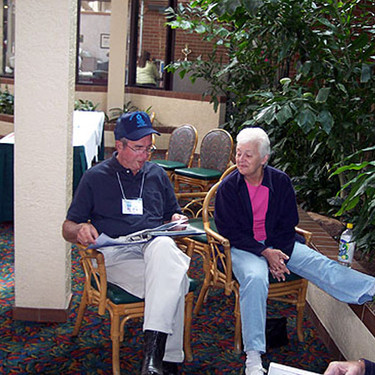 Dave Hawk and Sally Davis in the hotel lobby