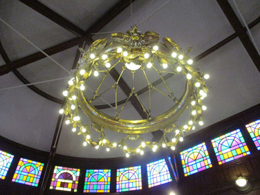 The chandelier modeled after the hops plants used in making Bud
