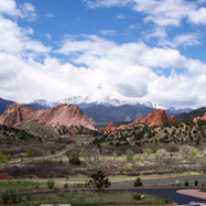 Pikes Peak in the background from the Garden of the Gods