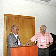 Reed presenting Paul Blais with his Appreciation Plaque