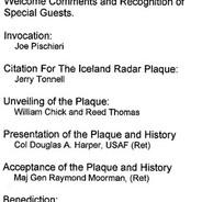 The Dedication Ceremony program