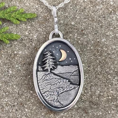 Lone Tree Shore Dark Night Necklace