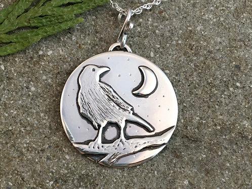 Raven Crescent Moon Necklace
