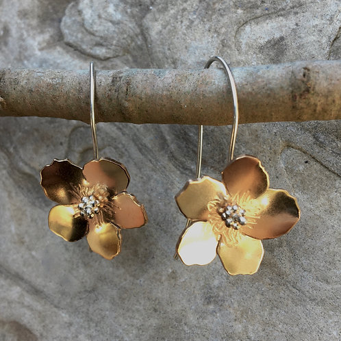 Hibiscus Flower Bronze Earrings
