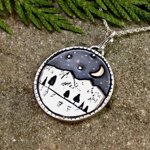 Dark Night Mountain Reflection Necklace