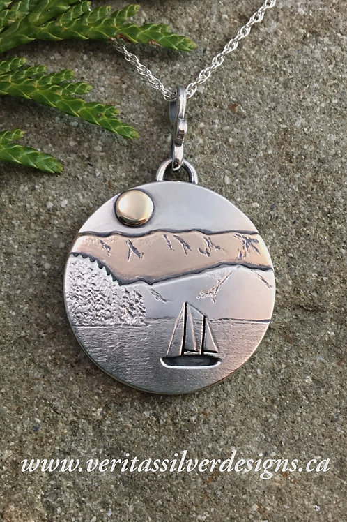 Sailboat Anchored in Harbour - Sterling Silver, 14k Gold and Bronze