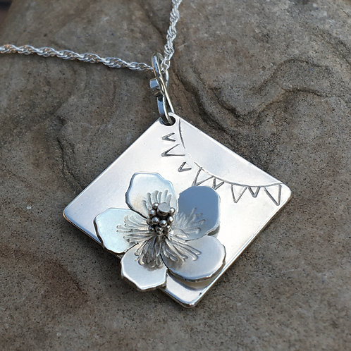 Hibiscus Flower Square Necklace
