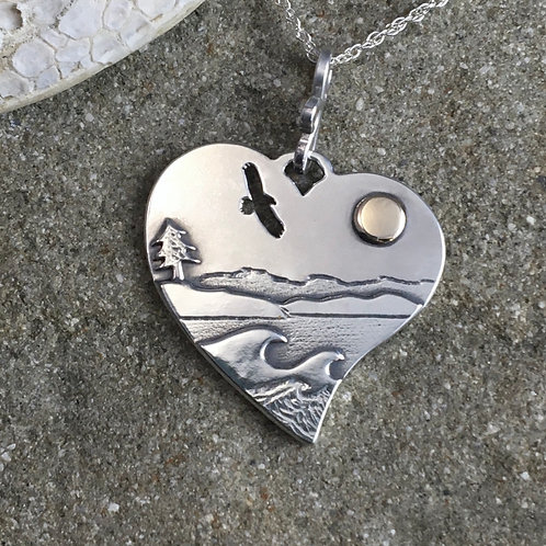 Eagle Waves Heart Necklace