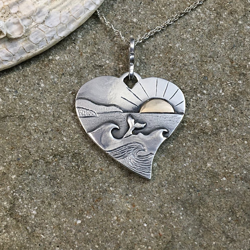 Whale Tail Heart Necklace