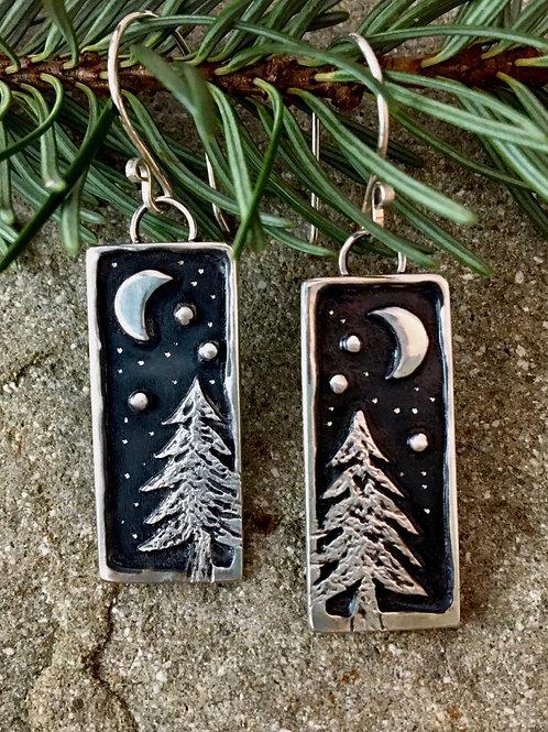 Dark Forest Night Earrings