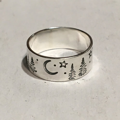 Forest Night Wide Ring