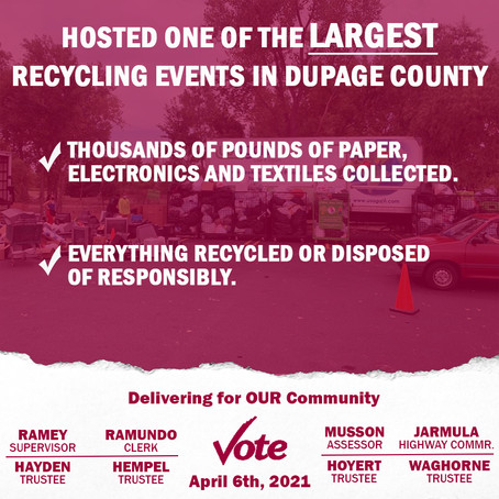 Hosted One of the Largest Recycling Events in DuPage County.