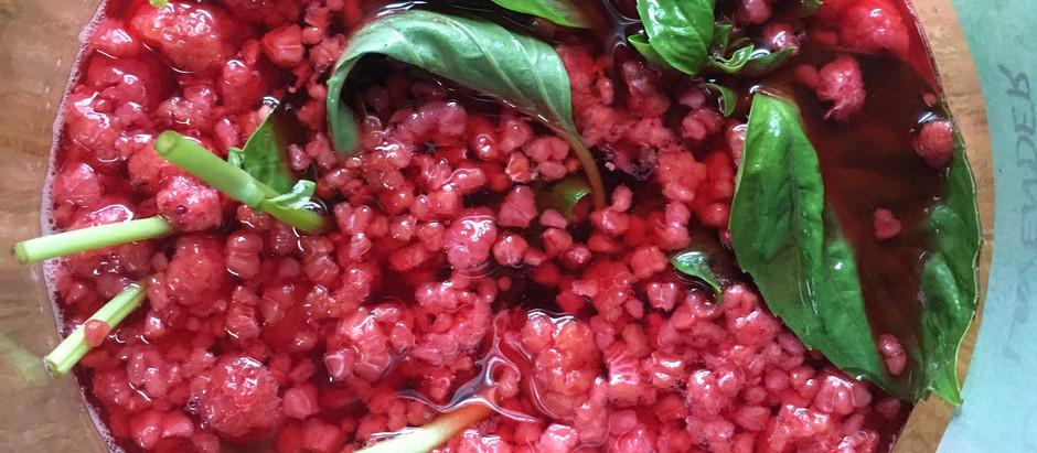 Yaupon and Lemongrass Kombucha with Raspberries, Basil, and Honey
