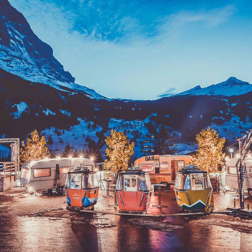 fondue caravans by bus stop grindelwald