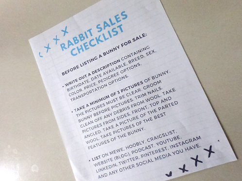 Rabbit Sales Checklist