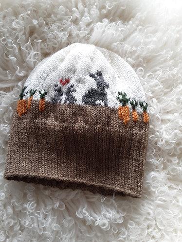 """Bunnies in the Carrot Garden"" Knit Hat Pattern"