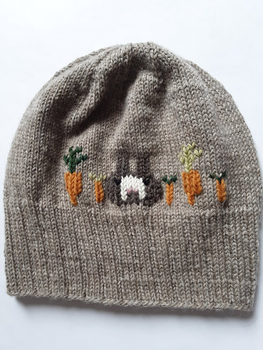 Bunny Face with Carrots Knit Hat