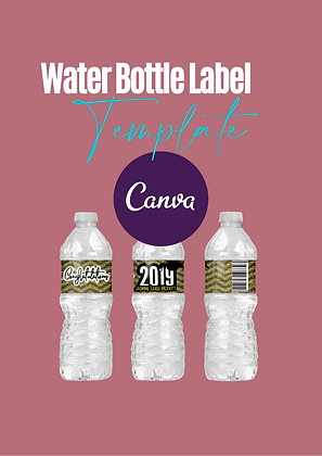 Canva Water Bottle label template