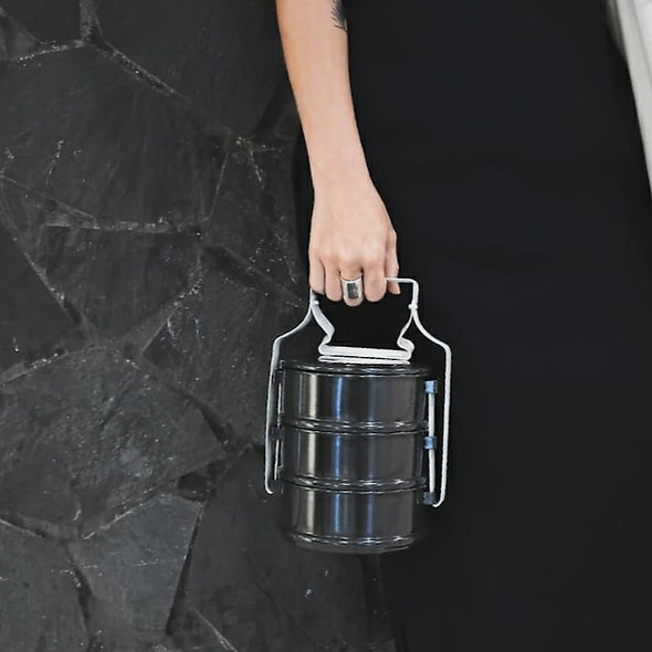 三層搪瓷手攜食物盒