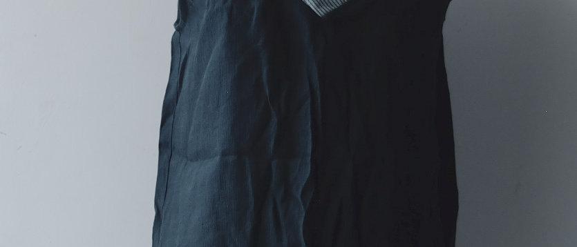深藍人造絲背心