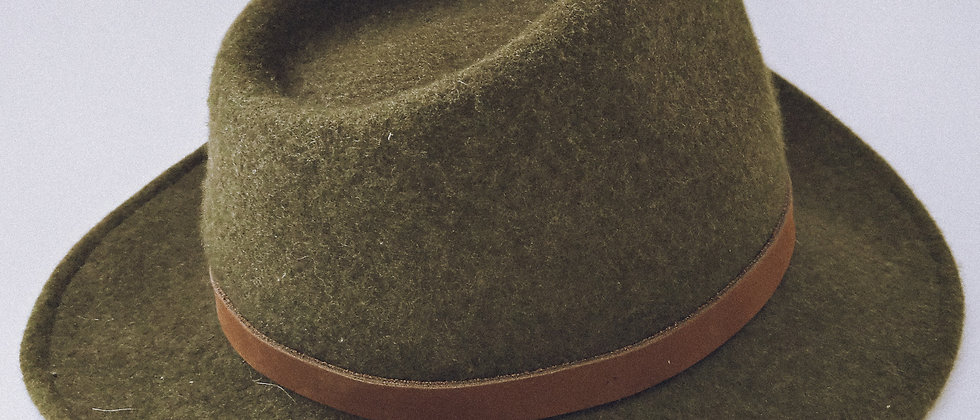 Dark green felt hat
