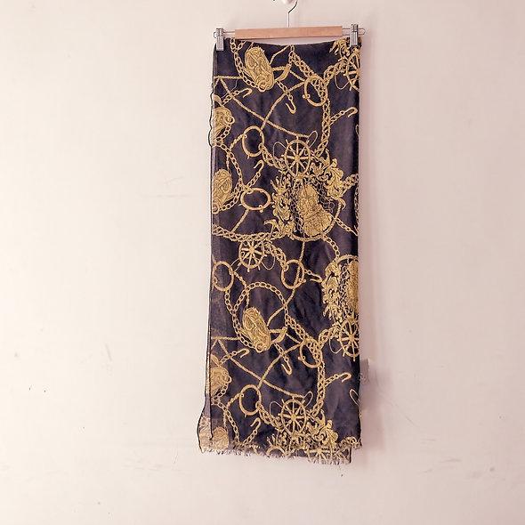黑黃印花長方形圍巾