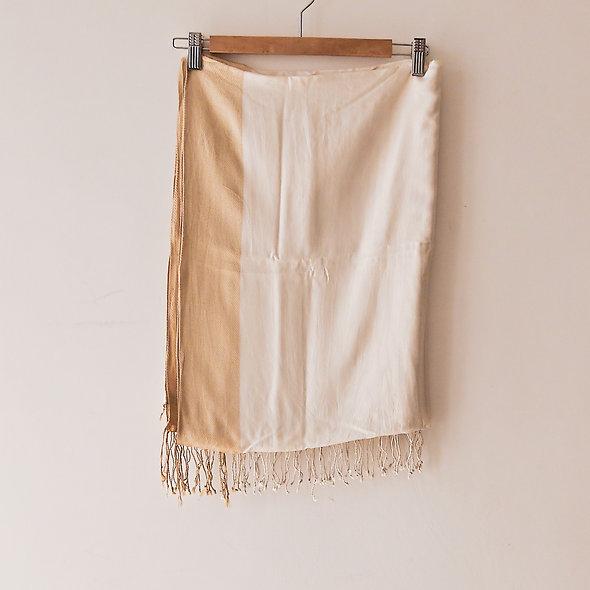 米/金色長方圍巾