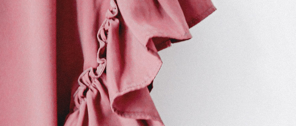 深棕紅花邊袖上衣