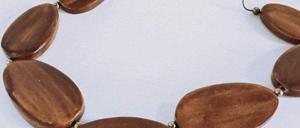 Wood plaque necklace