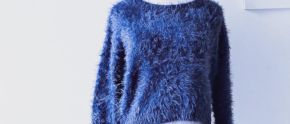 Blue fluffy pullover