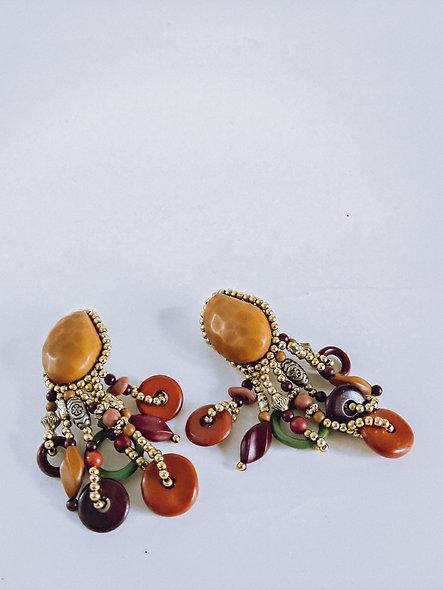 Tribal beaded pendant earrings