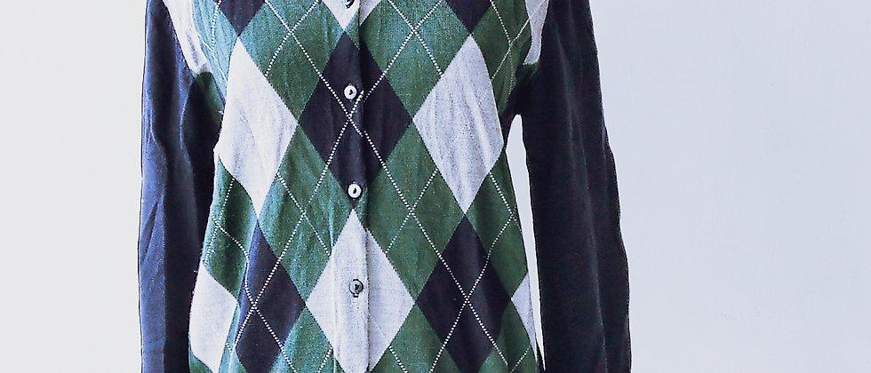 MUJI 綠色格紋針織外套