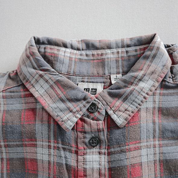 洗水紅格純棉裇衫