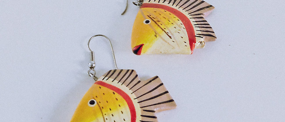 Wood fish pendant earrings