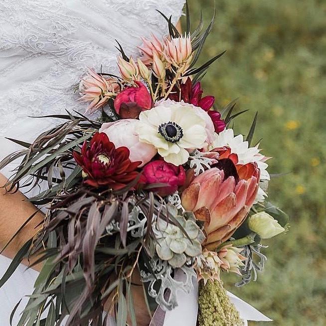 Romantic eclectic bridal protea