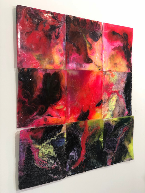"""Six (Mold) 2018 Series of 9 10"""" x 10"""" each  Available $400   casting resin, epoxy resin, fiberglass resin,plexiglass dust, polysufide rubber, acrylic medium, acrylic paint, acrylic gesso, baby powder, wheat, ink, dye, synthetic amorphous silicone dioxide, gesso dust, glass oxide"""