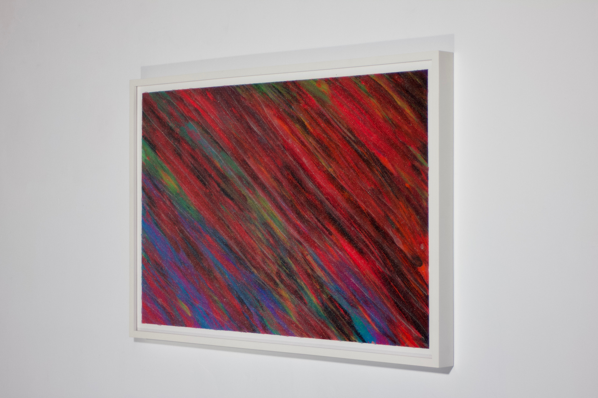 """2020  19.25"""" x 28.5"""" x 1.5"""" paper acrylic paint, silicone, glass oxide white frame  Available $250"""