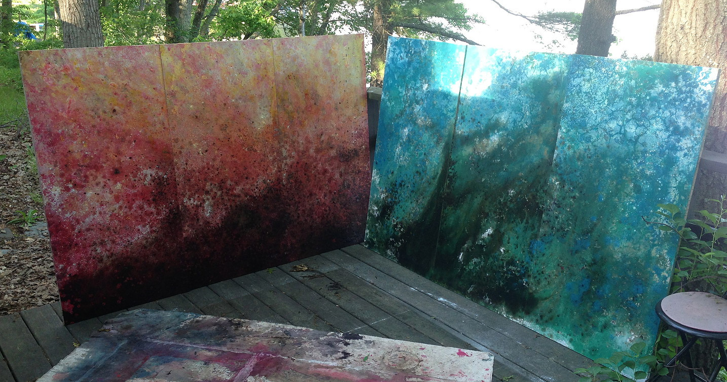 """2013 Wood Panel series of 3  48"""" x 24"""" x 1"""" each  &  2014 Wood Panel series of 3  48"""" x 24"""" x 1"""" each  Both Available $600"""